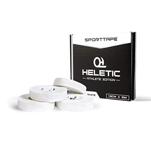 HELETIC Fingertape 4er Set Sporttape 1,5cm x 10m Athlete Edition - Tape mit extra starker Klebkraft, leicht abreißbar & wasserabweisend (weiß)