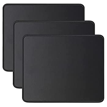 JIKIOU 3 Pack Mouse Pad with Stitched Edge Comfortable Mouse Pads with Non-Slip Rubber Base Washable Mousepads Bulk with Lycra Cloth Mouse Pads for Computers Laptop Mouse 10.2x8.3x0.12inch Black