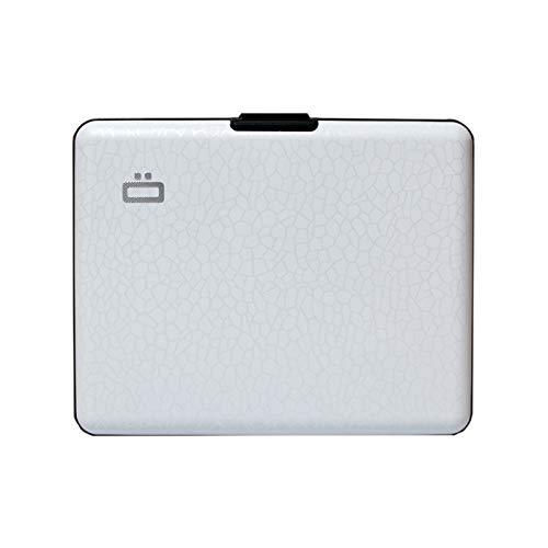 Ögon Smart Wallets – Brieftasche im Ausweis-Format und für den Führerschein – RFID Schutz: schützt Ihre Karten gegen Betrug – bis zu 10 Karten Crackled White L