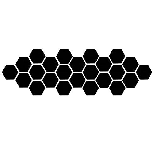 24 Laminas Espejo hexigonal Adhesivas de parad,Pegatina Vinilo Espejo hexágonal Adhesivo de Pared Decorativo para salón baño Oficina (Negro, 126 X 110 X 63 MM)