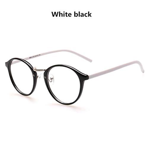 Boner Retro ronde leesbril Heren Dames Vintage computer Transparant brilmontuur Bijziendheid, witte benen