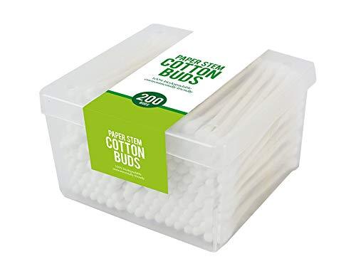 Lot de 200 cotons-tiges en papier jetables, biodégradables, respectueux de l'environnement et multifonctions, dans une boîte en plastique