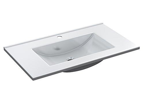 Abitti Lavamanos para Mueble de baño o Aseo, de PMMA, Color Blanco Brillo 81x13x46cm