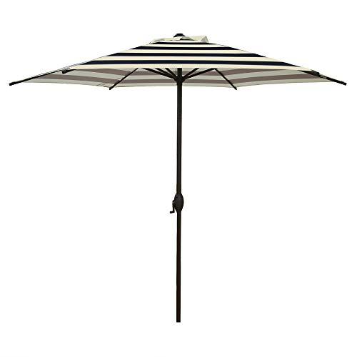 Abba Patio 9ft Striped Patio Umbrella Outdoor Umbrella Patio Market Table Umbrella with Push Button Tilt and Crank for Garden, Lawn, Deck, Backyard & Pool, Black and Cream Stripe