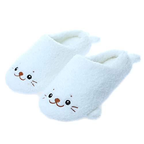 Millffy Lindas zapatillas de felpa de león de mar japonesas para niña de felpa de animales de mar con fondo suave para interiores y hogares (7-8 mujeres/5-6 hombres, león marino)