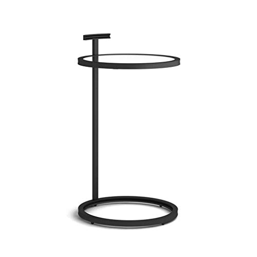 LICHUAN Side Table Simple Modern Sofa Side Corner Several Moving Bedside Table American Style Metal Living Room Small Round Coffee Table End Table Easy Assembly (Color : Black, Size : Tempered glass)