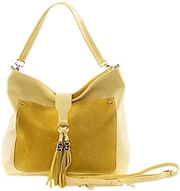 Italian Pebbled Grain Yellow Calf Leather Shoulder Bag With Front Suede Pocket