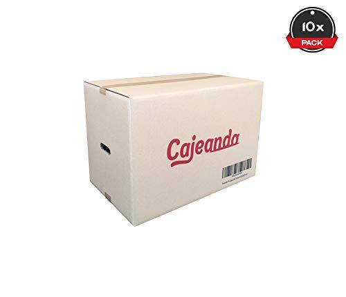 Cajeando   Pack de 10 Cajas de Cartón con Asas   Tamaño 55 x 35 x 37 cm   Canal Doble de Alta Calidad Reforzado y Resistencia   Mudanza y Almacenaje   Fabricadas en España