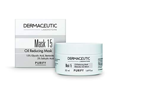 Dermaceutic Mask 15 – Maschera viso per pelli grasse e controllo del sebo – Maschera a base di acido glicolico, acido salicilico e argilla bentonite – Detersione profonda dei pori della pelle – 50 ml