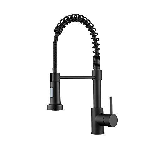 Ravinte Commercial Matte Black Kitchen Faucet With Sprayer Single Handle Spring Spout Faucets Pull Down Sprayer Solid Brass Kitchen Sink Faucet Farmhouse Kitchen Faucets