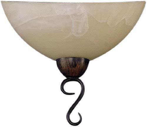 Fischer & Honsel Leuchten 31341 Wandleuchte rostfarbig antik Glas alabasterfarbig champ Braun 12 x 24 x 22 cm (LxBxH)