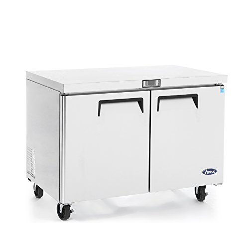 Commercial Undercounter Refrigerator,Commercial Large Beverage Cooler Fridge Center ATOSA MGF8403 Double 2 Door Stainless Steel Horizontal Refrigerators 17.9 Cu.Ft.60W30D36.3H inch 32℉-38℉