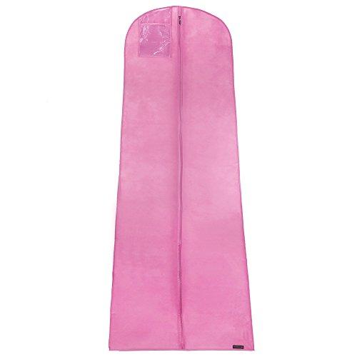 HANGERWORLD Atmungsaktive Kleiderhülle für Abendkleider 183cm Pink Kleidersack Hochzeitskleid
