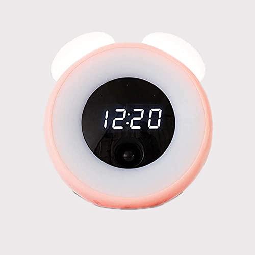 DFGBXCAW Reloj Despertador Digital Cabecera para niños Reloj Despertador Inteligente Sin tictac Reloj Despertador Doble Pantalla LED Atenuador Pantalla Ajustable Reloj Digital pequeño, Verde