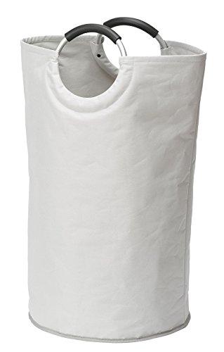 WENKO Wäschesammler Jumbo Stone, Wäschekorb, Multifunktionstasche Fassungsvermögen: 69 l, Ø38 x 72 cm, beige