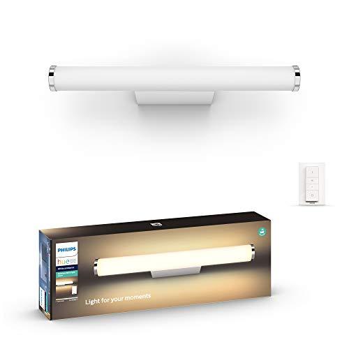 Philips Hue White Ambiance wandlamp voor de badkamer, klein, model Adore wit, Bluetooth, werkt met Alexa, incl. afstandsbediening