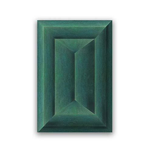 ASLKUYT Smaragdgrün Abstrakt Geometrisches Poster Leinwanddruck Zeitgenössische Wandkunst Leinwandbild Bild Wohnzimmer Dekor-20x28 IN Kein Rahmen