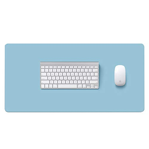 LWZko Ordenador Alfombrilla Escritorio, Alfombrilla Escritorio, 80 x 40cm Protector Escritorio Oficina, Mouse Pad, PU Cuero Doble Cara Antideslizante Impermeable Pad para Oficina, Hogar (Azul, Plata)