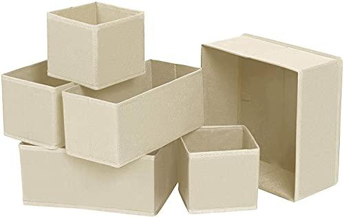 Onlyup 6 unidades de armario organizador plegable de plástico para sujetadores, ropa interior, calcetines, corbatas, organizador de Drawer Divider Cubes Container (blanco)