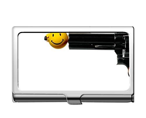 Estuche para tarjetas de crédito de negocios profesionales/estuche de identificación, portador de la tarjeta de acero inoxidable del arte sonriente de armas de fuego