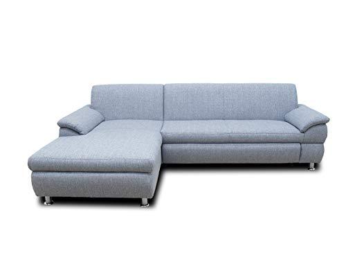 DOMO Collection Ecksofa Bounty | Schlaffunktion L-Form Sofa | 266 x 172 x 82 cm | Eckcouch Schlafsofa mit Bett in grau