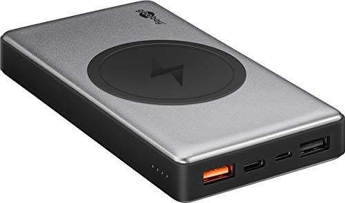 goobay 55152 Powerbank 10000mAh mit Qi Ladegerät, Quickcharge QC 3.0, 2X USB Plus USB-C im Aluminium Gehäuse drahtloses Laden
