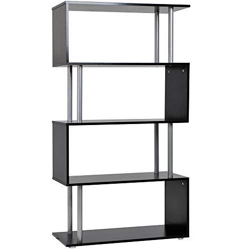HOMCOM Wooden S Shape Bookcase Bookshelf Dividers Storage Display Unit Black