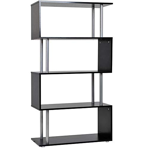 HOMCOM Wooden S Shape Bookcase Bookshelf Dividers Storage Display Unit Black