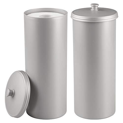 mDesign Set da 2 Porta carta igienica da terra – Elegante contenitore con coperchio porta rotoli di carta igienica – Contiene fino a 3 rotoli – argento