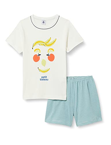 Petit Bateau A000D01 Pajama Set, Marshmallow/Multico, 4 Ans Boys