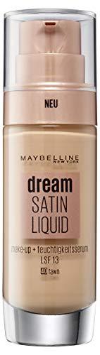 Maybelline Dream Satin Liquid Make-up Nr. 40 Fawn, für einen natürlich strahlenden Teint mit zart schimmerndem Satin-Finish, mit Feuchtigkeitsserum und mattierendem Primer, 30 ml