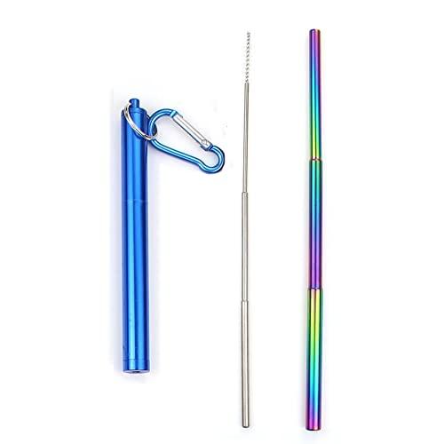 DONDOW Paja telescópica plegable portátil 304 de acero inoxidable de metal para beber pajita de viaje con cepillo limpiador (color: nivel de arco iris azul)