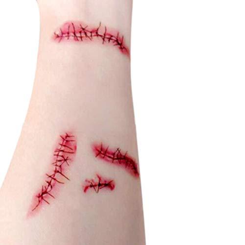 FORH Tattoos Temporäre Tattoos Narben Wunden Horror Ritzen Helloween Realistisch aussehende Motive Halloween Zombie Scars Tattoos Aufkleber Kostüm Makeup Stützen (A)