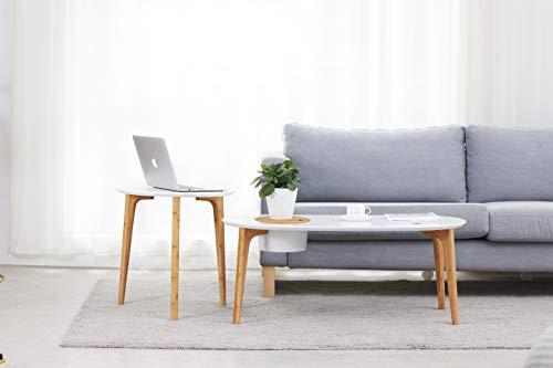 Cenzen Bamboe salontafel, moderne minimalistische stijl, ronde salontafel voor thuis, kantoor 100 x 50 x 40,5 cm