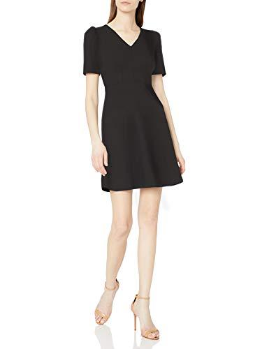 Amazon Brand - Lark & Ro Women's Florence Gathered Detail Half Sleeve V-Neck Dress, Black, 4