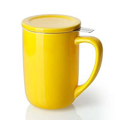 Sweese 203.105 Ceramic Tea Mug with Infuser and Lid, Single Cup Loose Tea Brewing System, Draw Your Own Design, 16 OZ, Yellow