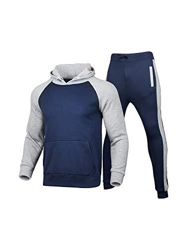 Geagodelia Juego de 2 piezas de ropa deportiva de invierno para hombre, ropa de chándal de color a contraste con sudaderas de manga larga con capucha y pantalones deportivos navy L