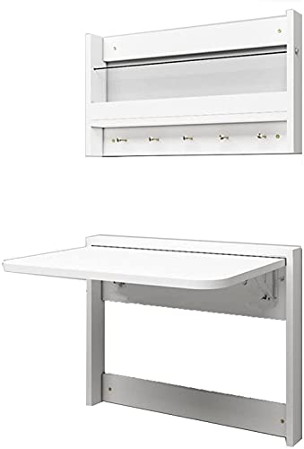 Mesa plegable para pared que ahorra espacio, escritorio plegable con estantería de fácil instalación para el hogar o la oficina (color blanco, tamaño: 84 x 49 cm), 64 x 49 cm, blanco
