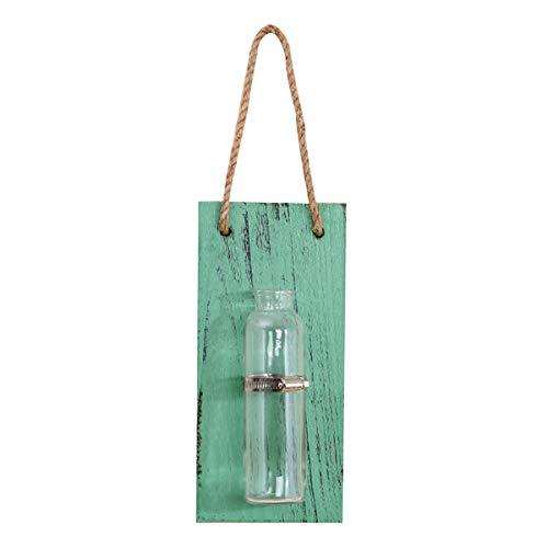 Yardwe Vase à Fleur Suspendu Rustique Suspendu Plantes hydroponiques Verrerie avec Planche de Bois pour Maison Jardin Décoration (Vert)