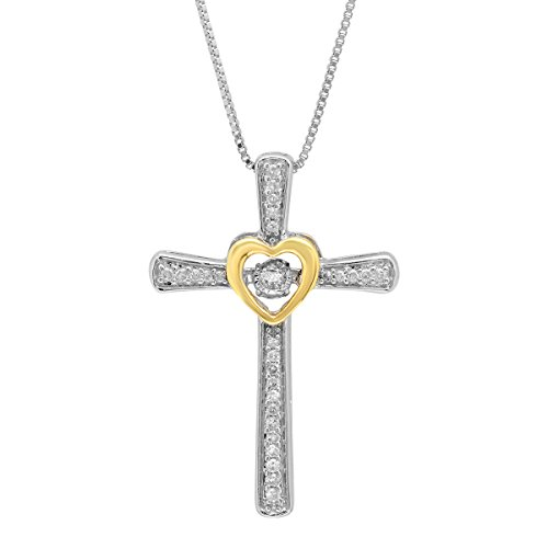 """Sterling Silver and 14k Yellow Gold Genuine Dancing Diamond Cross and Heart Pendant Necklace (1/6 cttw, J-K Color, I2-I3 Clarity), 18"""""""