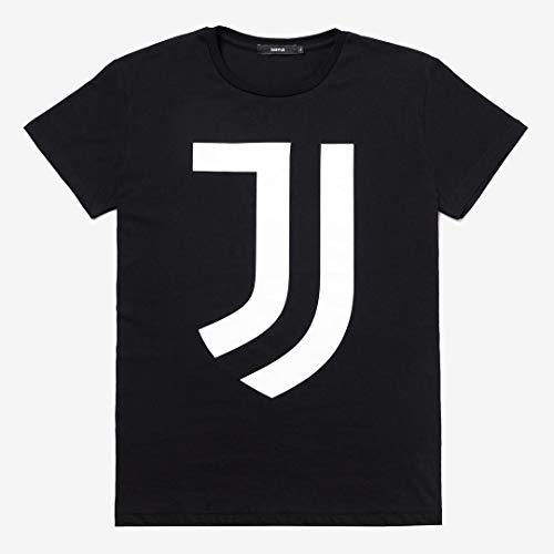Juventus T-Shirt Nera con Logo Bianco - 100% Originale - 100% Prodotto Ufficiale - Uomo - Scegli la Taglia (Taglia L)