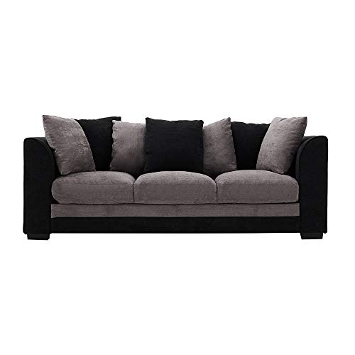 Beshomethings Chenille Fabric 3 Seater Sofa Modern Upholstered Settee Couch With Cushions For Living Room (Black&Grey)