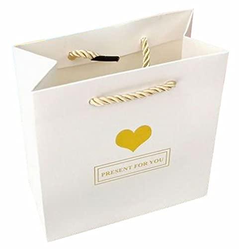 Plus Nao(プラスナオ) 紙袋 3枚セット 手提げ袋 ギフト用袋 プレゼント用袋 父の日 母の日 誕生日 記念日 お祝い ホワイト ピンク ブルー A【14×15×7cm】 ホワイト