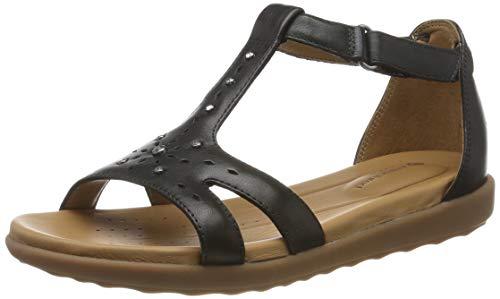 Clarks Damen Un Reisel Mara T-Spangen Sandalen, Schwarz (Black Leather), 39 EU