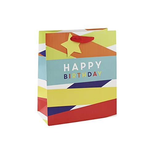 Clairefontaine 26949-3C - Un sac cadeau moyen 21,5x10,2x25,3 cm 210g, Happy Birthday