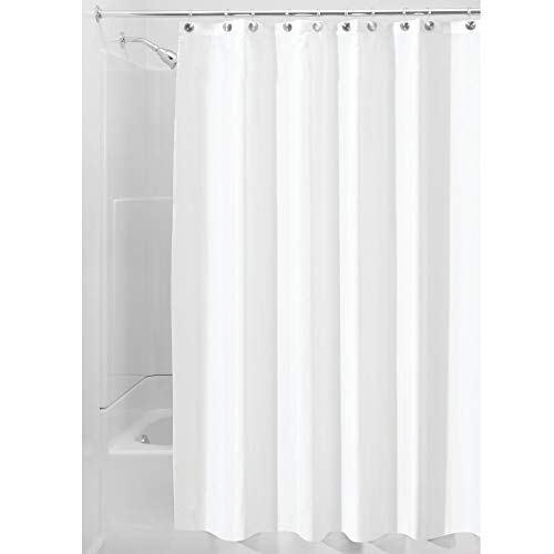 iDesign Fabric Long Shower, Modern Mildew-Resistant Bath Curtain Liner for Master, Kid's, Guest Bathroom, Extra, White