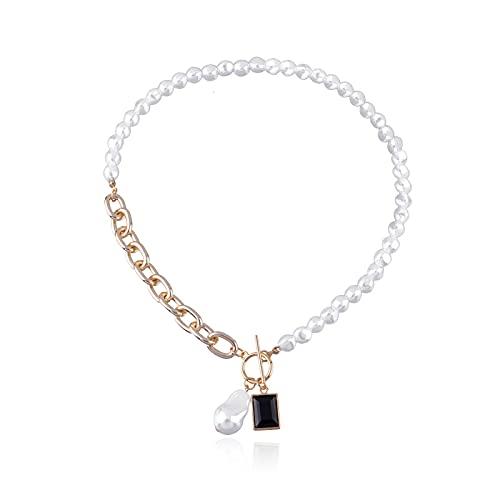 ZYLL Collar de Cadenas asimétricas de Perlas Irregulares barrocas para Mujer 2021, Collar con Colgante de acrílico geométrico Negro, joyería de Fiesta Punk, Regalo del día de la Madre,