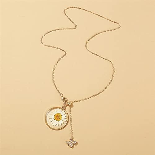 Double Layers Daisy Bee Anhänger Halskette Getrocknetes Blumenharz Halsband Schöne kleine Honig Halskette für Frauen Mädchen Handgemachten Schmuck