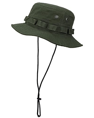LIVACASA Sombrero Pescador Hombre y Mujere ala Ancha Sombreros para el Sol Gorra de Ciclismo Plegable Verde Militar