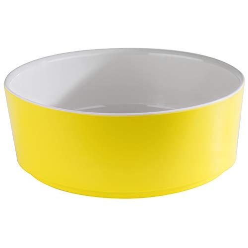 """APS Schale """"Happy Buffet"""", Bowl, runde Buffetschüssel, Schale aus Melamin, weiß/gelb, Ø 20,0 cm, Höhe 7 cm, für 1,5 Liter Inhalt"""